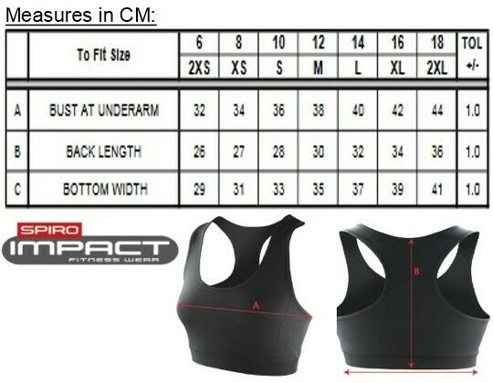 Damen Impact Sport BH Top Gr.XXS,XS,S,M,L,XL,XXL in 2 Farben Quick Dry RT282f