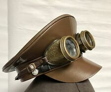 Steampunk Military Brown Hat With Rustic Embossed Goggles 58Cm