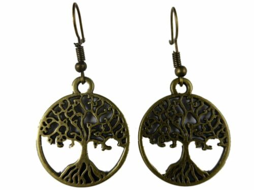 Ohrringe Ohrhänger Hänger Edelstahl Vintage messingfarben Baum Krone Schlüssel *