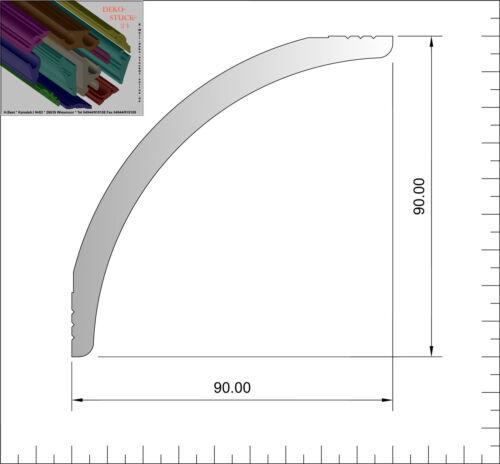 "8 I-A Ecken Dekor /""Verdal/"" Stuckleisten Stuckprofil 9 cm x 9 cm 40 Meter"