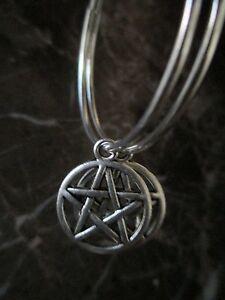 Silver-Plated-Hoops-Pentacle-Pentagram-Handcrafted-Earrings-Wicca-Pagan
