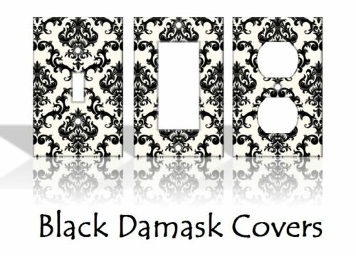 Black Damask Flowers Light Switch Covers Home Decor Outlet
