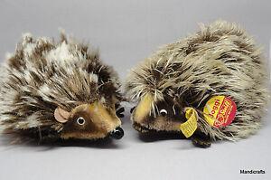 Steiff-Joggi-Hedgehog-Lying-x-2-Spiky-Mohair-Plush-17cm-7in-ID-Button-1960s-Vtg