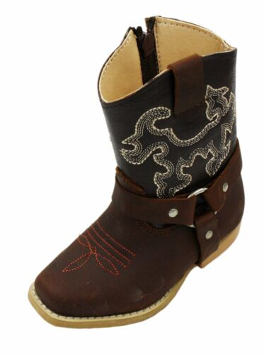 Toddler Size Genuine Leather Cowboy Western Side Zipper Closure Boots