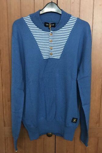 Lyle and Scott Vintage Half Placket Pullover BNWT Medium Blue