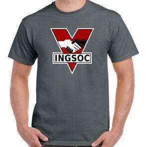 INGSOC-T-Shirt-1984-Mens-George-Orwell-Fictional-Novel-Top-English-Socialism