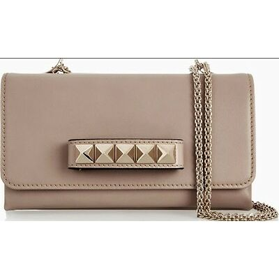 AS NEW 100% AUTHENTIC VALENTINO VA VA VOOM LEATHER SHOULDER BAG CLUTCH BEIGE