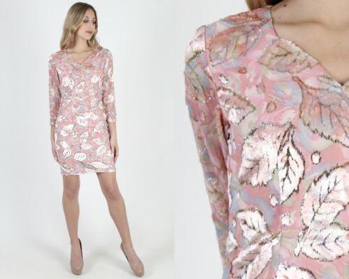 Vintage 80s Velvet Leaf Dress Sheer Pink Chiffon F