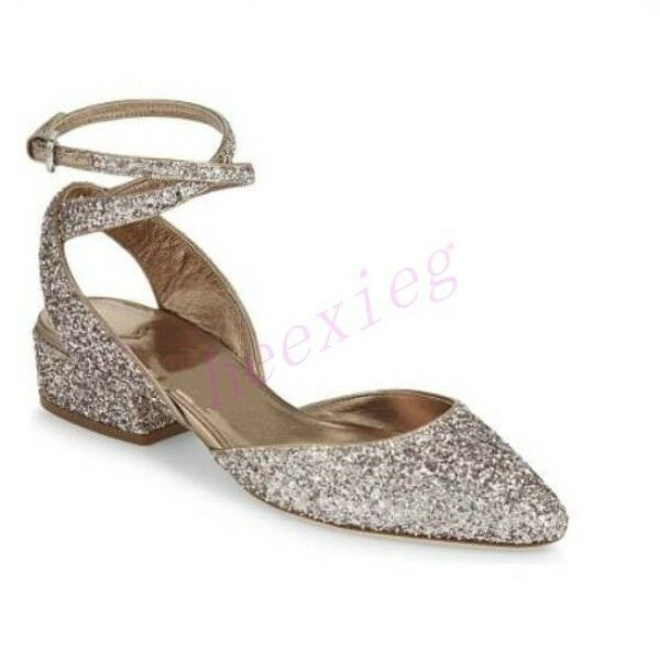 Donna Leather Heel Low Block Heel Leather Slingback Sandals Pointy Toe Sequins Party Shoes d0b341