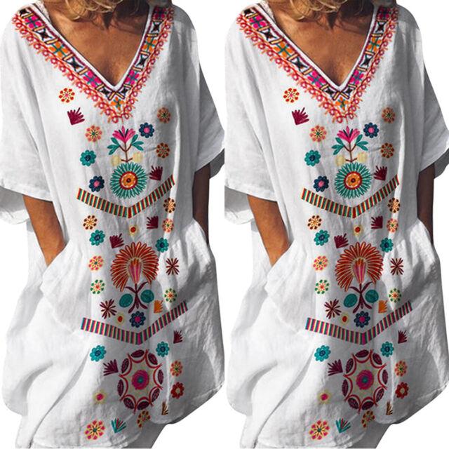 Women Boho V-Neck Floral Dress Short Sleeve Casual Kaftan Tunic Tops Plus Size
