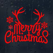 Merry Christmas Red Dears Horns Car Decal Vinyl Sticker For Window Wall Bumper
