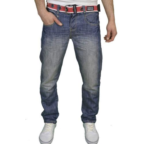 Bnwt Crosshatch Homme Designer Coupe régulière de la marque belted denim braguette boutonnée