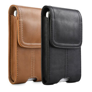 innovative design eb47f 70a19 Details about Business Men Vertical Leather Cell Phone Pouch Case Holster  Belt Loop Holder US