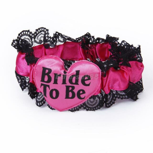 Bride To Be Hen Night Party Hot Pink & Black Lace Hen DO Garter Gift