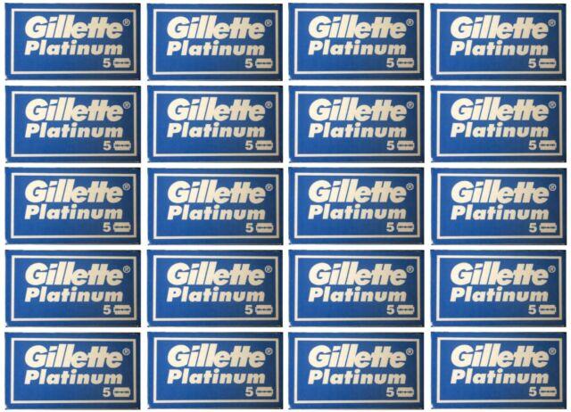 100 Gillette Platinum DE Double Edge Razor Blades - Tracking number provide