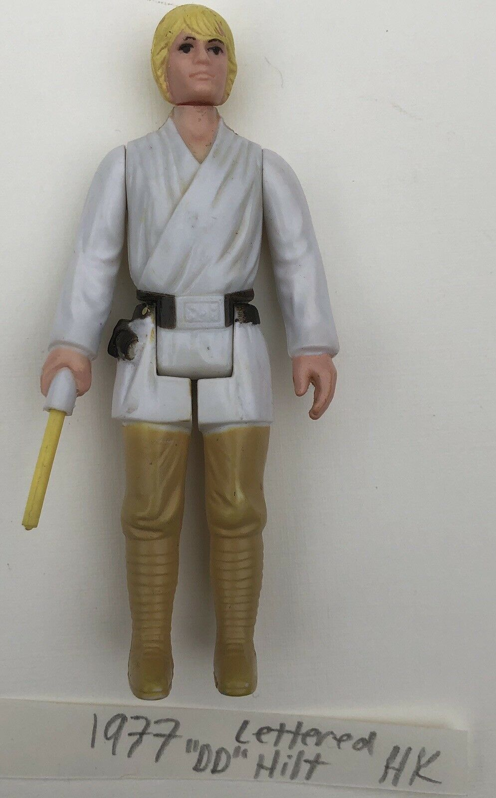 1977 Vintage Star Wars Luke Farmboy Action Figure Lettered Hilt Lightsaber Real