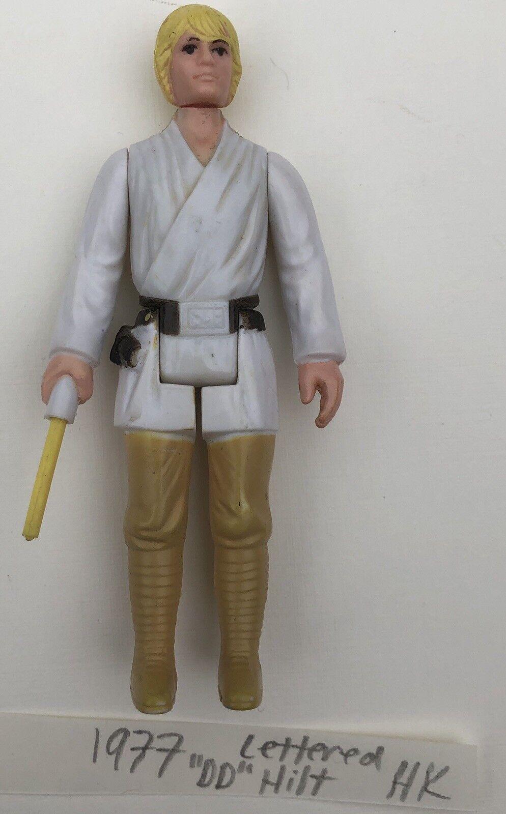 1977 Vintage Star Wars Luke Farmboy Action Figure Letterot Hilt Lightsaber Real