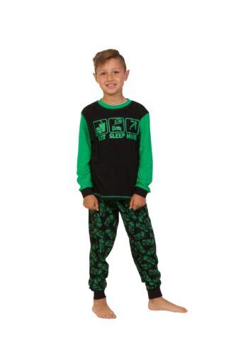 Cool EAT SLEEP MINE Long Pyjamas 7 to 14 Years COMPUTER GAME STYLE Green AOP