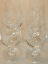 LOT 4 VERRE en CRISTAL à VIN blanc CREMANT ALSACE glass GLAS gravé vigne RAISIN