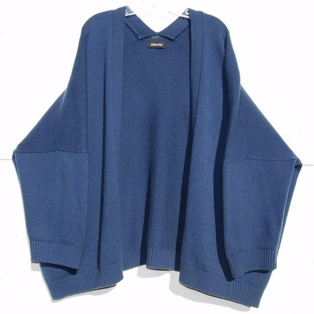 "Eskandar blueE HeavyWeight Handloomed 6 to 8 ply Cashmere 30"" Long Cardigan"