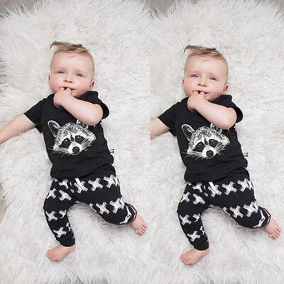 New Baby Girls Boys Tops T-shirt+Pants Leggings 2pcs Outfits Set Clothes 0-24M