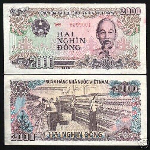 Vietnam 2000 VND Dong P107b 1988 HCM Textile Factory UNC Large Serial #  Note | eBay