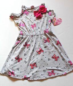 7ee63d964a655 JoJo Siwa Gray   Pink Bows Cold-Shoulder Knit Dress Girls Size XS 4 ...
