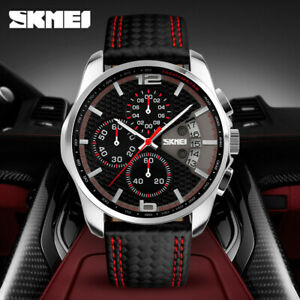 SKMEI Quartz Men Watch 5ATM Luminous Chronograph Sport Wristwatch for Gift T8F7
