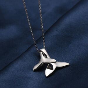925-Sterling-Silber-Delphine-Meerjungfrau-Schwanz-Anhaenger-Bib-Kette-Halskette