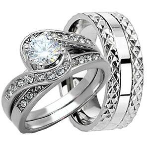 His-amp-Hers-3-pcs-Womens-STERLING-SILVER-amp-Mens-TITANIUM-Wedding-rings-Bridal-set