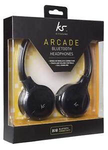 Kitsound-Arcade-Wireless-Bluetooth-Cuffie-Vivavoce-con-Microfono-Nero