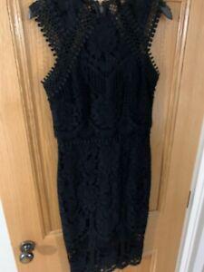 Lipsy-Black-Lace-Midi-Dress-Size-8