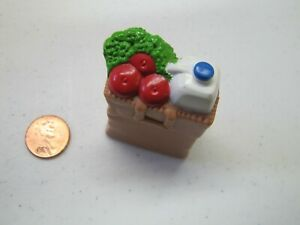 Fisher Price Loving Family Dollhouse Brown Grocery Food Bag Milk Apples