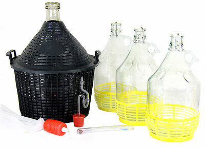 Gärröhrchen Gumistopfen Weinheber Set 1x15L+3x5L Weinballon alkoholmeter