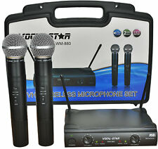 Vocal-Star WM-880 Dual 2 VHF Wireless Cordless Microphones & Carry Case