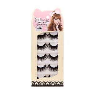 5-Pairs-Natural-Soft-Long-Black-Makeup-Beauty-Thick-False-Eyelashes-Eye-Lashes