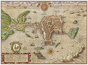 Gallipoli Lecce Puglia Italy bird's-eye view map Braun Hogenberg ca.1598