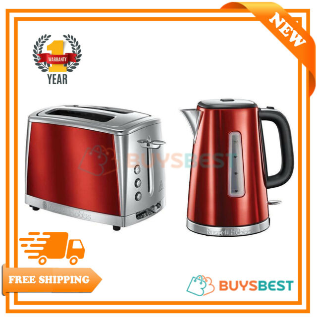 Rus Hobbs Luna Quiet Boil 1 7l Electric Kettle 2 Slice Toaster Set Red