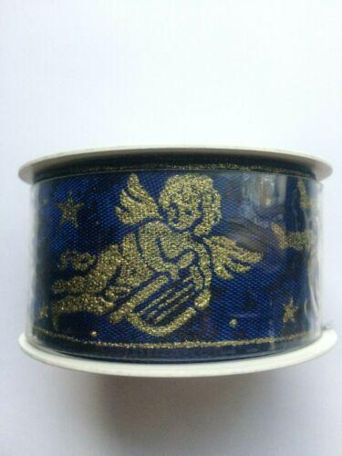 Vintage New Sopp America Dark Blue Christmas Gold Cherub Angel Wire Ribbon Trim