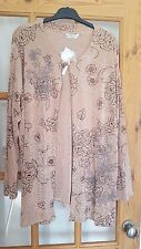 Pretty Beige Multi Long Top/Jacket, Floral Pattern, Size 24/26, NWT
