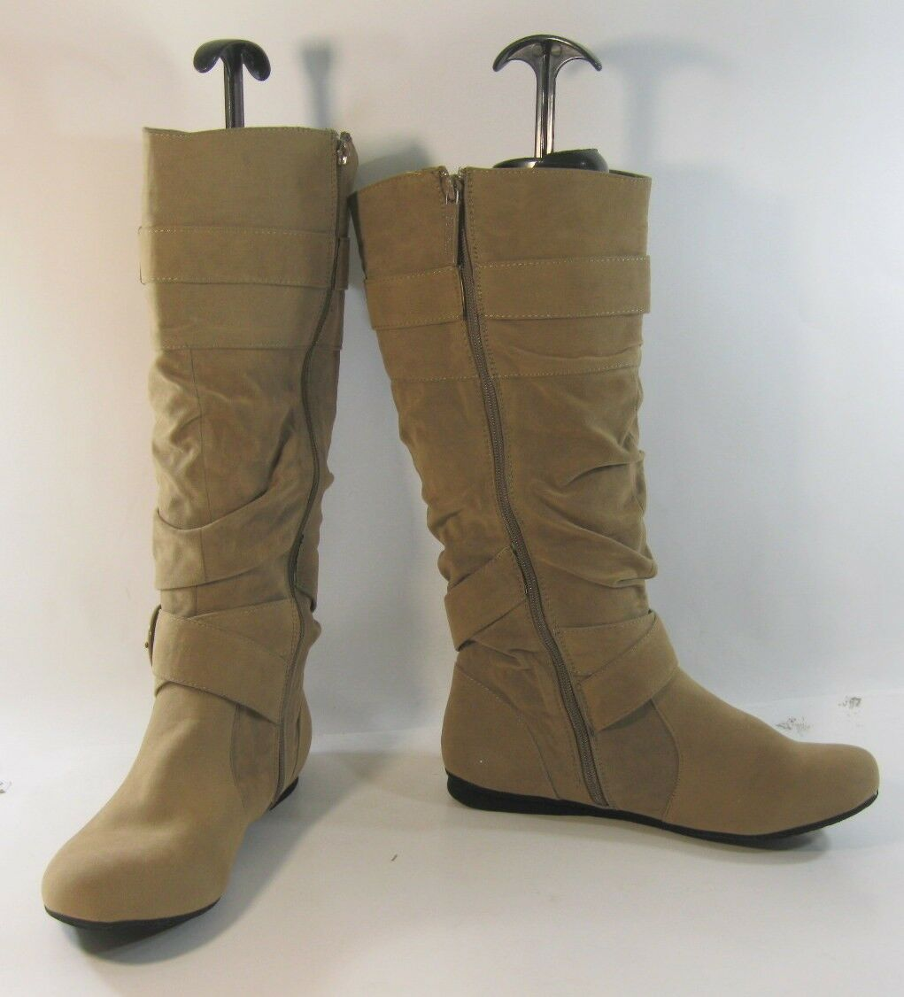 Womens Light Knee Brown Soft Round Toe Knee Light Boot Side Buckles Size 7.5 ee77d7