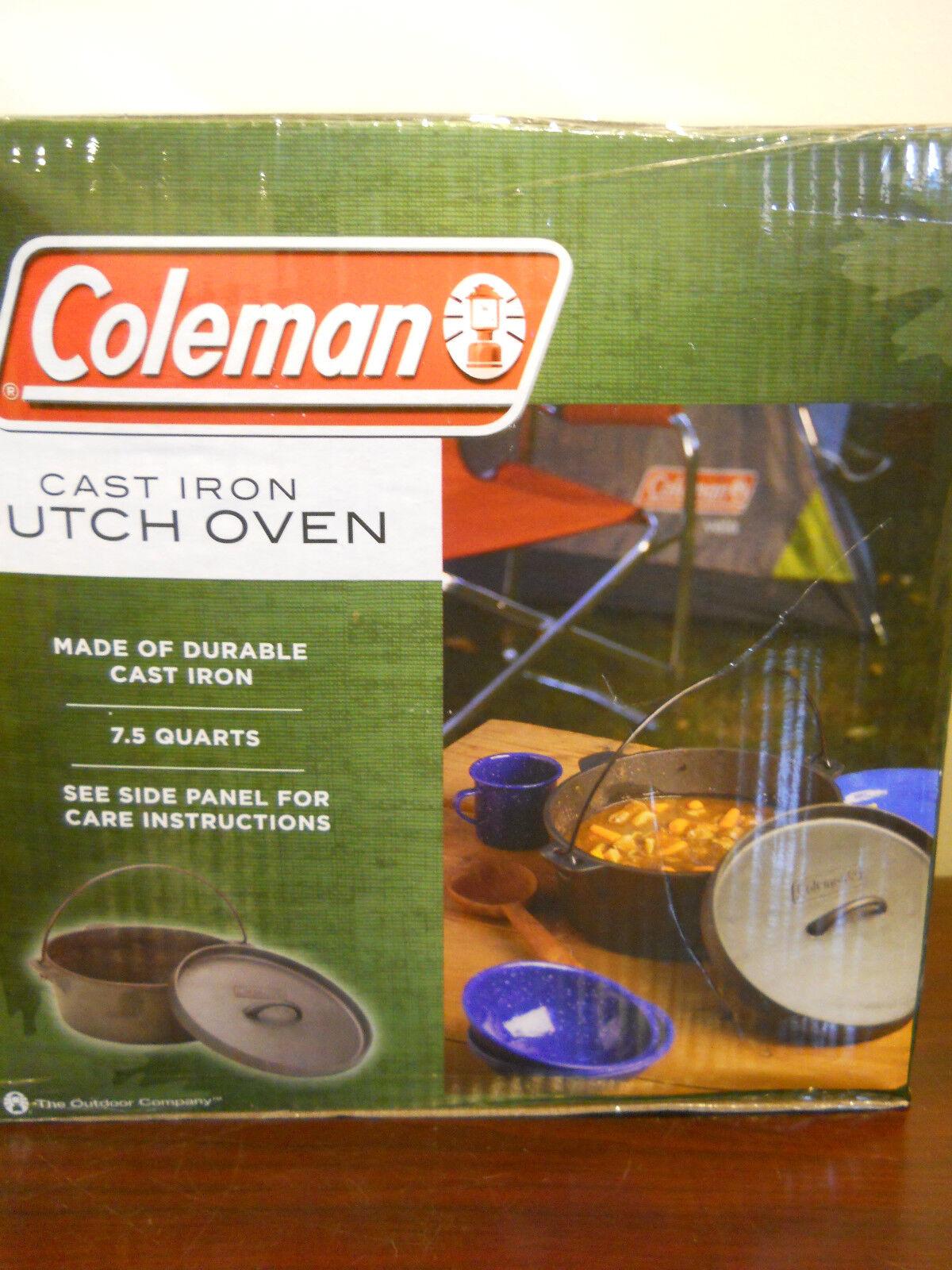 NEW COLEMAN CAMPING CAST IRON DUTCH OVEN POT LID 7.5 QT HANDLE COOKING COOKWARE