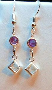 STERLING-SILVER-925-WHITE-TOPAZ-5MM-PRINCESS-amp-AMETHYST-SLIPLESS-EAR-WIRES