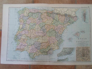 Old map spainportugal from bacons popular atlas of the world image is loading old map spain portugal from bacon 039 s gumiabroncs Gallery