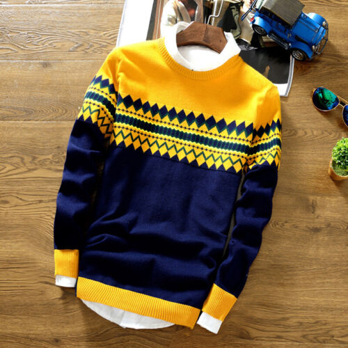 Mens Casual Long Sleeve Sweater Round Neck Knitted Sweatshirt Winter Pullover