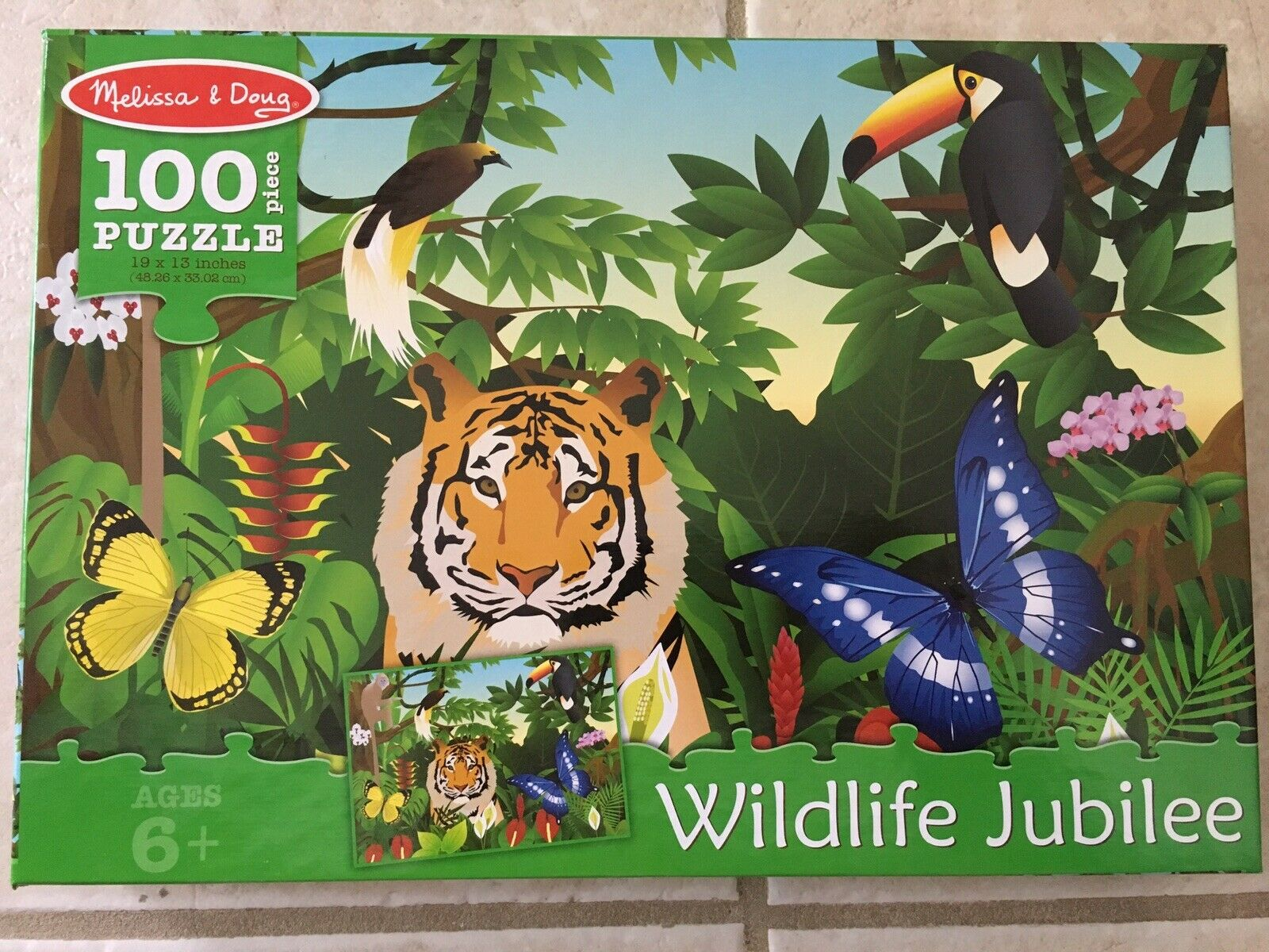 Melissa Doug Wildlife Jubilee Jungle Animals Jigsaw Puzzle 100 Pcs