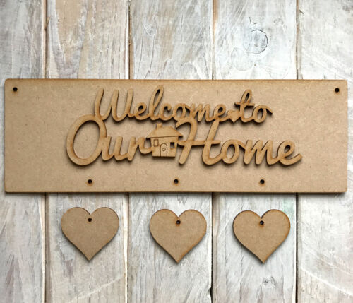 30cm x 10cm MDF Wooden FAMILY PLAQUE KIT with HEARTS HOME