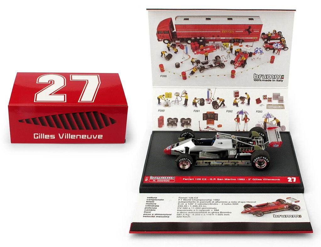 Brumm P011 Ferrari 126C2 2nd San Marino GP 1982 - Gilles Villeneuve 1 43 Scale