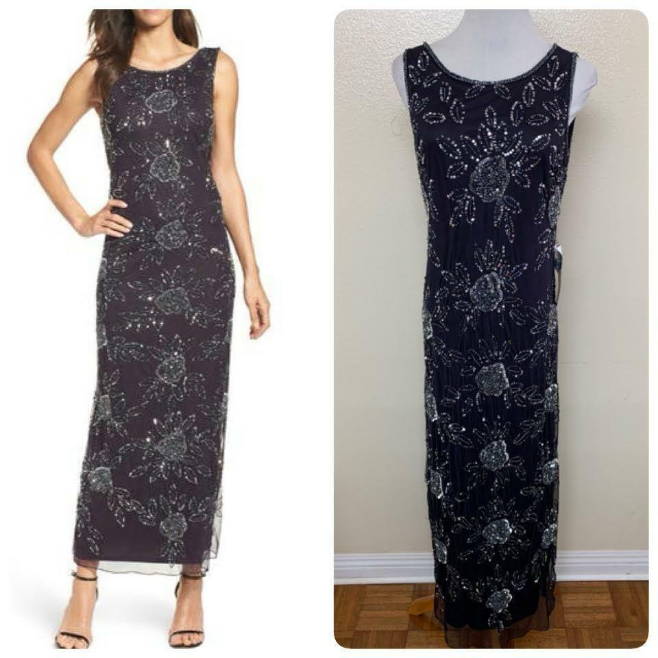 Pisarro Nights Floral Beaded Mesh Gown PETITE Size 8P Eggplant Sequined