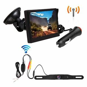 Wireless-Backup-Camera-Monitor-Kit-License-Plate-Rear-View-Camera-Waterproof
